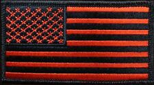 USA FLAG RED BLACK EMBROIDERED TACTICAL COMBAT HOOK PATCH