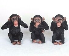 "3 Wise Monkeys Hear Speak See No Evil Detailed Figurine Miniature 4""H New in Box"