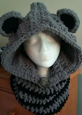 Raccoon  Crochet hooded cowl, crochet hat, beanie, hooded scarf