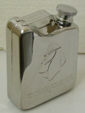 COURVOISIER Stainless Steel FLASK embossed with LOGO - New - Empty