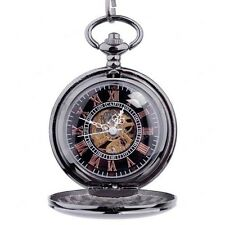Personalized Quality Ice Black Mechanical Pocket Watch- Free engraving
