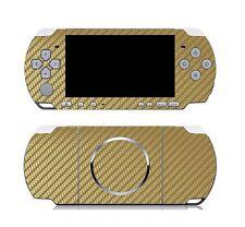 Golden Carbon Fiber Vinyl Decal Skin Sticker Cover for Sony PSP 3000