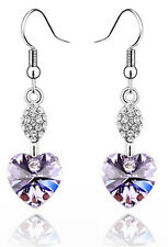 Austrian Crystal Light Violet Heart Shaped Rhinestone Drop Dangle Earrings E265