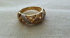 Stephen Dweck Sterling Silver and Gold Overlay Diamond ring size 7