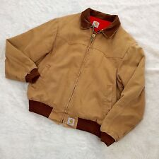 Vtg Carhartt Medium Quilted Santa Fe Duck Jacket Men's Tan Western