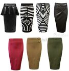 New Womens Ladies Girls Celebrity Style Tube Pencil Bodycon Peplum Midi Skirt