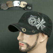 Cadet Box CRC BLACK Army Military Fashion CAP HAT Distressed Vintage Look Unisex