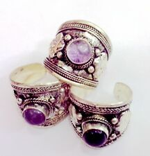 Elegant Tibet Silver Carved Lace Purple Crystal Ring Adjustable Religion Gift