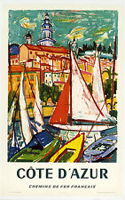 ON LINEN-ORIGINAL Vintage Travel Poster CÔTE D'AZUR Menton FRANCE Riviera Monaco