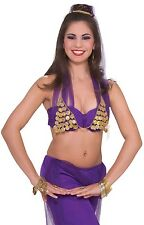 Ladies Sexy Arabian Belly Dancer Jasmine Coin Bra Fancy Dress Costume Outfit