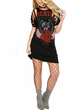 Womans Distressed Vintage Rose Breathe Angel Long T Shirt Mini Dress Slashed Top