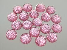 100 Pink Flatback Resin Dotted Round Rhinestone Cabochon Gems 12mm