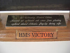 HMS Victory Model - Mounted on Reclaimed Oak Planking from HMS Victory + COA