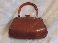 SAC EN CROCO VÉRITABLE, MARRON VINTAGE 1930/40  ANSE BAKELITE / ART DECO BAG