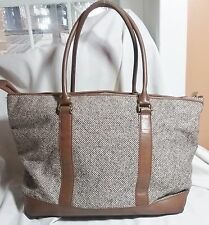 L.L. BEAN TWEED  LEATHER TOWN & FIELD COUNTRY BAG SHOULDER LUGGAGE CARRY ON