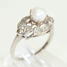 ANTIQUE 10K WHITE GOLD & PEARL RING w CLAW SETTING & ACCENTS, 4.8 gms, size 8.5