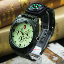 Army Green Fabric Canvas  Quartz Wrist Watch  With Luminous Surface and Compass