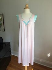 NWOT VTG LORRAINE Pink & Teal Nylon Nightgown Nighty SZ M MINT!