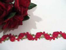 Red & Green Embroidered Rose Lace Trim 2.5 cm #6RD381B 1 metre