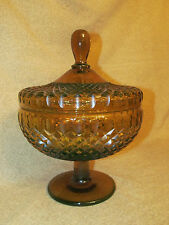 Antique Amber Cut Crystal Glass Covered Compote