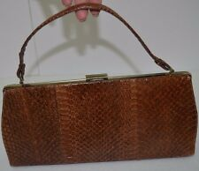 Vintage Authentic Brown Snake skin box framed purse Brown Clasp Handbag