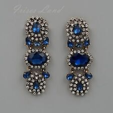 Antique Gold Tone Blue Crystal Rhinestone Drop Dangle Earrings 08844 New