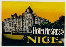 Hôtel NEGRESCO NICE Nice France * Old Luggage label valise Autocollant