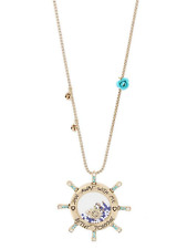 Betsey Johnson Sail Away With Me Wheel Pendant Long Necklace