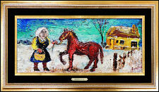DAVID BURLIUK Oil Painting On Board Original Signed Horse Artwork Portrait Rare