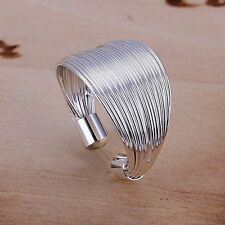 UK Silver Plated Size P 1/2 Adjustable Open Wire Shield Ring Thumb Mesh
