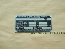 HARVESTER INTERNATIONAL COMPANY SCOUT TRUCK 60s DATA PLATE ID TAG IH IHC