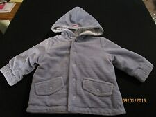 EUC BABY BOY REVERSABLE JACKET  BLUE/PINGUIN PRINT SNAP FRONT HOODED LULLABY