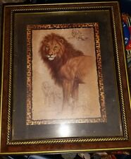 Home interiors framed lion picture EUC 16.5 x 13.5