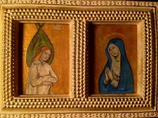 Annunciation Diptych Old Gothic Master probably 15thC Tempera Gesso Golden Frame