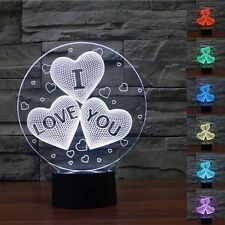 Creative 3D Led Desk Table Light Lamp I Love You Heart For Boys Girls As Gift
