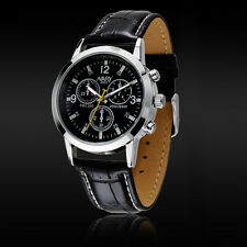 1PC Sport Military Quartz Dial Men Leather Wrist Watch Round Case Cheap W