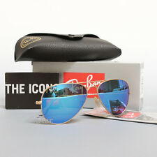 NEW AUTHENTIC RAY BAN AVIATOR RB3025 112/17 58MM BLUE MIRROR LENS GOLD FRAME