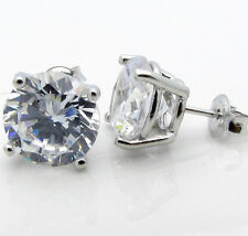 Sterling Silver CZ 6Ct Tw 3Ct Each Side Round Brilliant Basket Set Stud Earrings