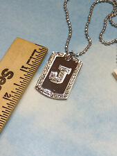 DOG TAG CHAIN  ARMY NAVY MARINES INITIAL LETTER  A B C D E F I J K M N P R T new