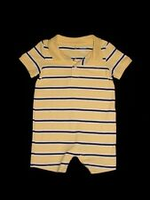 LN Gymboree Boys PREPPY PUPPY Yellow White & Blue Striped Polo Romper 3-6 M