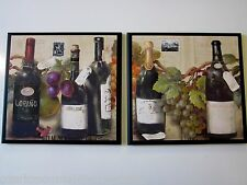 Wine Bottles & Grapes Kitchen Wall Decor 2 Plaques Italian Bistro Tuscany signs