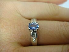 ! ADORABLE 14K WT GOLD TANZANITE AND DIAMONDS LADIES CATHIDRAL SETTING RING