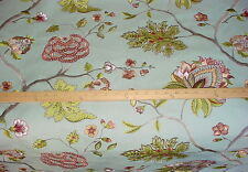 COLEFAX FOWLER EMBROIDERED FLORAL STEM LINED SILK UPHOLSTERY FABRIC
