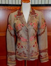 biya Johnny Was 3J Workshop Embroidered Brown Jacket Coat S Small