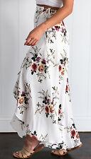 New~ Women Summer Casual High Waist Split Floral Boho Beach Long Sundress Skirt