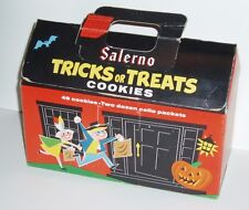Vintage 1960's Salerno Trick or Treat Halloween Cookies Box haunted house