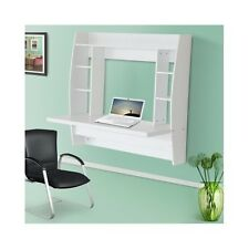 Wall Hanging Desk Shelves Study Room White Space Saving Wood Bookcase Small Unit