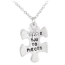 D33 I Love You To Pieces Puzzle 4 Leaf Clover Silver Medallion Charm Necklace
