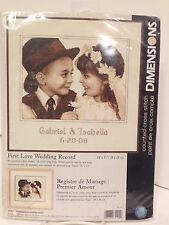 "Dimensions Counted Cross Stitch #35192 ""First Love Wedding Record""  KIT  NIP"