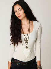 Free People cotton knit slub top henley tee crochet detail Grey sz S long sleeve